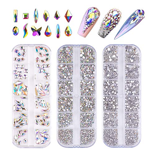 FITDON 3200pcs Nail Rhinestones Set, Multi-shapes Glass Crystal AB Rhinestones & Crystals AB Nail Art Rhinestones & Clear Nail diamond for Nail Decoration DIY Jewel Charms Accessories Supplies