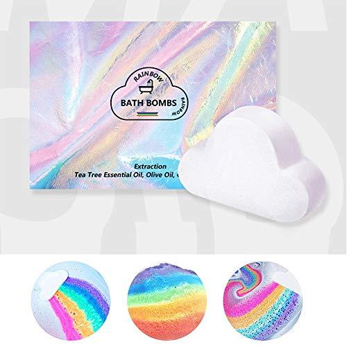 Rainbow Bath Bombs Gift Box Wrapped - Handmade Fizzies for Women. Rainbow Cloud SPA Bath Bombs...