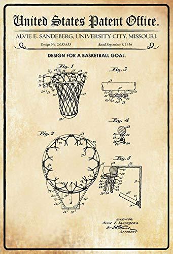 NWFS patent ontwerp voor een basketbal mand metalen bord bord metaal tin teken gewelfd gelakt 20 x 30 cm