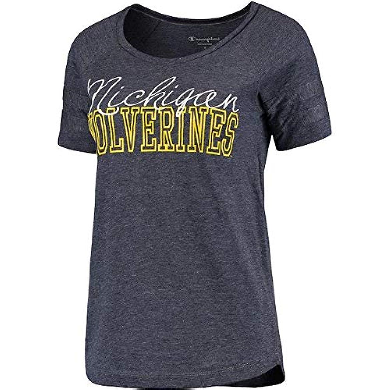 樹皮サミュエル宣言Champion Champion Michigan Wolverines Women's Navy Triumph Sleeve Stripe T-Shirt スポーツ用品 【並行輸入品】
