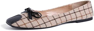 Women's Penny Loafers Slip On Plaid Pointed Toe Driving Walking Flats Office Moccasins Shoes