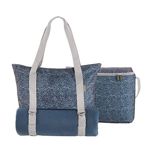 meori 3in1 Multi-Set-Marineblau Shopper mit Kühleinsatz und Picknickdecke-Freizeittasche-Strandtasche-Picknickkorb-Yogatasche-A100655, Polyester, Blau/Blumendruck, Multiset, 3
