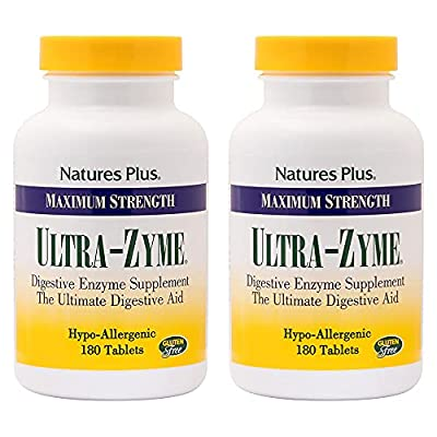 NaturesPlus Ultra-Zyme - 180 Tablets, Pack of 2 - Maximum Strength Digestive Enzyme Supplement with Acidophilus & Glutamic Acid - Gluten Free - 180 Total Servings