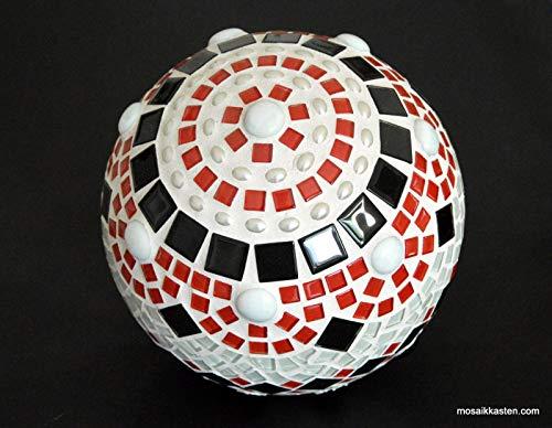 Handgemachte Mosaik Rosenkugel rot schwarz weiß 21 cm