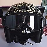 LALEO PU Cuero Personalidad Estampado Leopardo Retro Harley Casco Moto Abierto, Desmontable Transpirable con Gafas Protectoras Hombres y Mujeres, ECE...