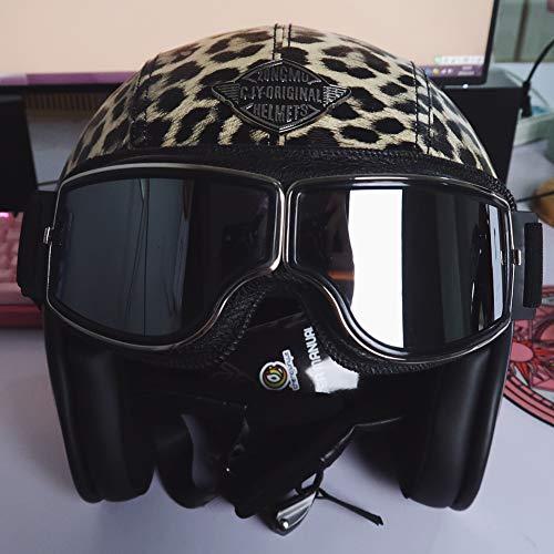 LALEO PU Cuero Personalidad Estampado Leopardo Retro Harley Casco Moto Abierto, Desmontable Transpirable con Gafas Protectoras Hombres y Mujeres, ECE Certificado S-XXXL (55-65cm)