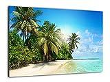 ALLboards Glas Magnettafel Urlaub Palmen Ferien Strand Sommer Sonne Meer 60x40cm Glasbild Memoboard aus Glas Glastafel mit Urlaubs-Motiv Magnetwand zum Beschriften Magnetische Tafel Wandbild