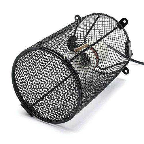 LanLan AC 220V 200W Reptile keramische lamphouder + thermo-lichtschakelaar + kooi + keramische verwarming lampenkap zwart Australische voorschriften