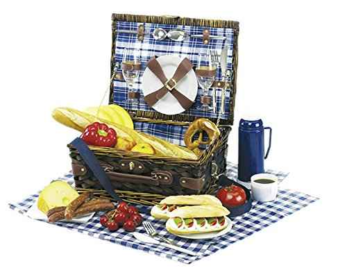 Picknickkoffer Picknickkorb mit Inhalt f. 2 Personen