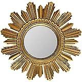 ACXZ Espejo de Sol Barroco de 80 cm, Espejo de Pared Decorativo Redondo para Entrada, Salon, Dormitorio, Espejo de repisa de Marco de MDF de Alta Densidad Envejecido, Dorado