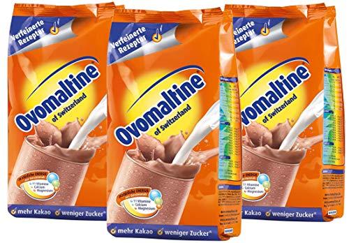 Ovomaltine Tägliche Energie mit Malz und Kakao, Nachfüllbeutel, 500 g, 3er Pack