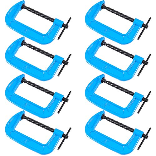 ZOENHOU 8 PCS 4 Inch C Clamps, Heavy Duty Malleable Iron G Clamps with 4 Inch Jaw Opening, C Clamp Brakes Sliding T-Bar Handle 2 Inch Throat Depth 1.22 lb Each