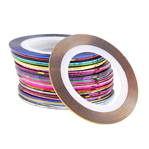 GreatWall 30 Couleurs mélangées Rolls Striping Tape Line Nail Art Tips Décoration Sticker