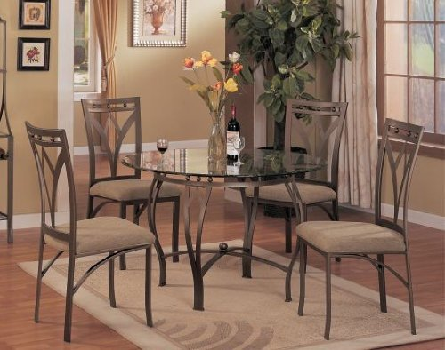 Where To Buy 5 Pc Metal And Glass Dining Room Table Set In