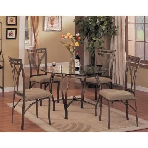 5 Pc Metal And Glass Dining Room Table Set In A