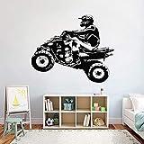 ATV Quad Motor Deportes extremos Motocross Quadrocycle Cuatro ruedas Casco de motocicleta Rider Etiqueta de la pared Calcomanía de vinilo Dormitorio de niño Sala de estar Club Decoración para el