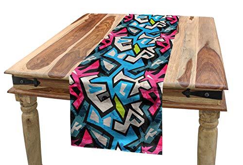 ABAKUHAUS Grunge Chemin de Table, Street Art Graffiti Funk, Rectangulaire Décoratif pour Salle à Manger, 40 cm x 180 cm, Multicolore