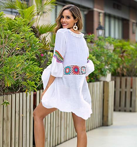 Traje de baño de Mujer Falda de Playa de Ganchillo Top Poncho de Punto Bikini Bikini de Camuflaje de Verano(white-3021)