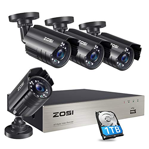 Zosi 1080p security camera system with 1tb hard drive h. 265+ 8ch 5mp lite hd-tvi video dvr recorder with 4x hd 1920tvl 1080p indoor outdoor weatherproof cctv cameras ,motion alert,remote access