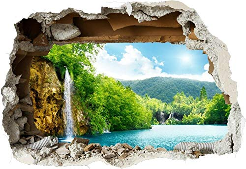 Pegatinas de pared Naturaleza, montañas, cascada, lago, 3d, roto, pared, vista, pegatina, cartel, vinilo Murales adhesivos pegatinas de pared 60 * 90CM