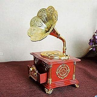 JJZXD Vintage Red Phonograph Music Box Jewelry Box Movement Mechanical Music Box Rotary Mechanism Wedding Gift
