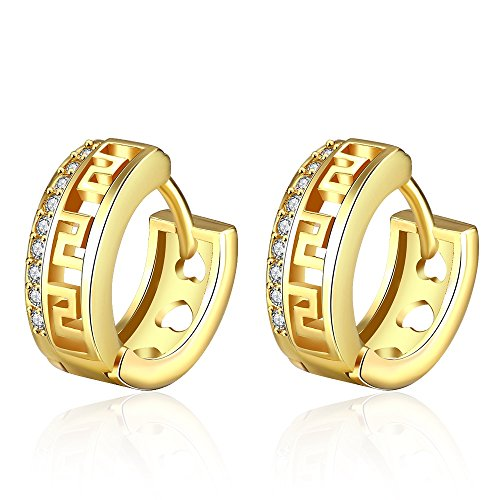 AMBESTEE Men Women Hoops Gold Plated Rhinestones Cubic Inlay Zirconia Hoop Earrings Studs Set for Party Meeting Wedding Daily Wear Christmas