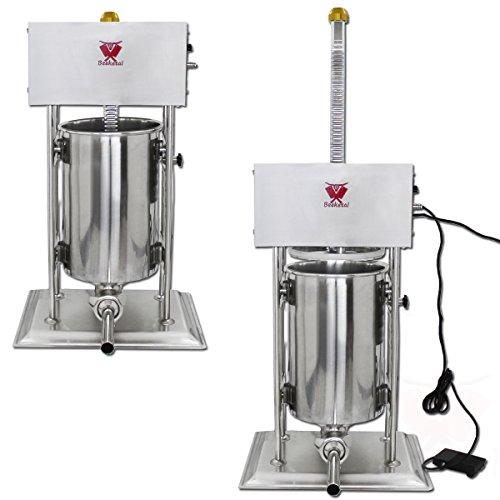 Beeketal 'BT015E' Profi Wurstfüllmaschine elektrisch mit Fußpedal (15 L Volumen), Profi Wurstfüller Maschine mit stufenlosem Geschwindigkeitsregler und Fußpedal, Set inkl. 4 Edelstahl Fülltüllen