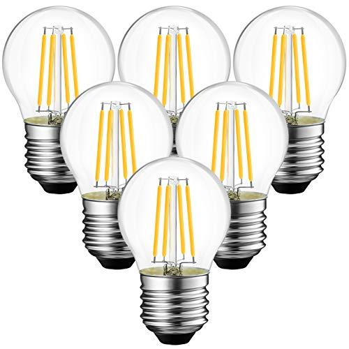 ANWIO E27 Filament LED Lampe G45 470Lm Birne 4,5 W ersetzt 40 W, 2700 K Warmweiß, nicht dimmbare Globe LED Glühbirne, 6er Pack