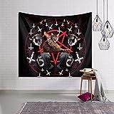 RTEAQ Wandteppich Strand Surfer Katze Pentagramm Death Black Metal Dekorative Tapisserie Perfekte Dekorationen für Schlafzimmer Wohnzimmer Wohnheim Wanddekoration Tuch-59x79inch