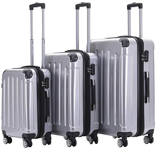 BEIBYE Hartschalen Koffer Trolley Rollkoffer Reisekoffer 4 Zwillingsrollen Polycabonat (Silber, Kofferset)