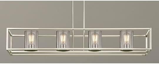 Seeded Hanging Glass Linear Chandelier Satin Nickel Finish - 4 Lights