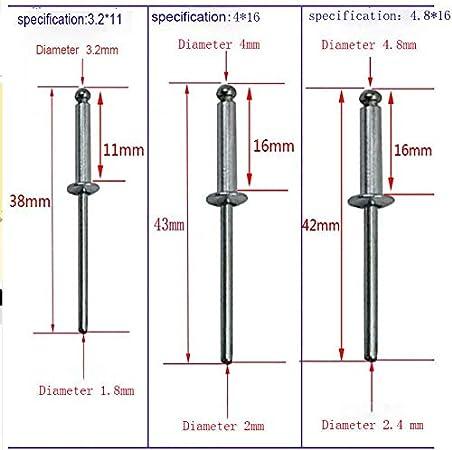 cabeza de c/úpula abierta 2,4 x 6 mm 50 unidades 2,4//3,2//4//4,8 mm Remaches SENRISE de aluminio Pop Remaches de brida grande