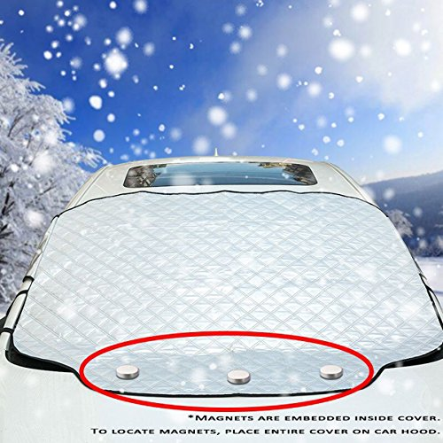 [2019 Newest Upgrade] Magnetic Car Windshield Snow Cover for SUV. 4 Layers, Waterproof, Soft Scratch-Free, Ice Removal Padded Liner with Mirror Flap and Inside Buckle Belt. Most Secure Fitting