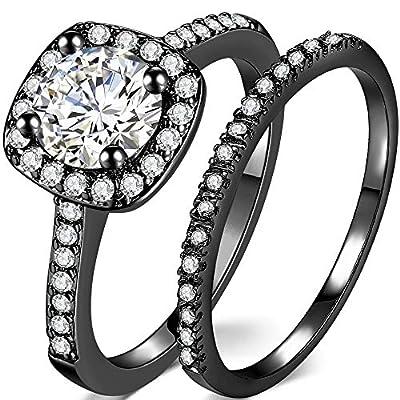 Silver Rose Gold 2 Carat Wedding Engagement Eternity Bridal Ring Set (Black, 10)
