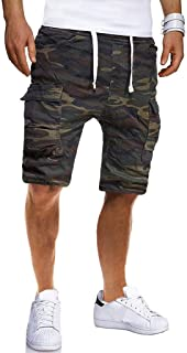 LQRACHEL Sport Pants for Men Camouflage Casual Slim Stretch Shorts Pants Overalls with Pockets