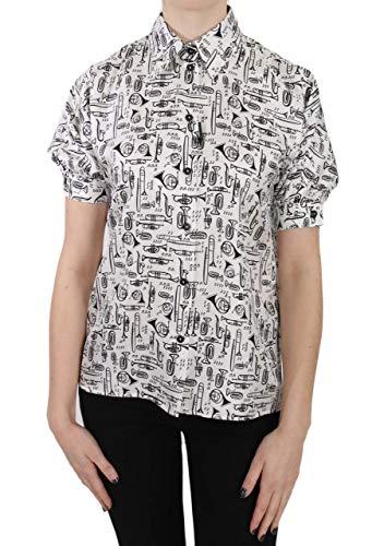 Dolce & Gabbana - - All - White Musical Instrument Collared Blouse Shirt - IT36|XXS