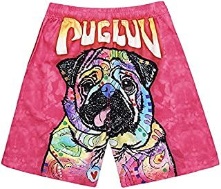 Digital Printed Puppy Loose Casual Shorts Beach Pants High Quality (Color : Photo Color, Size : L)