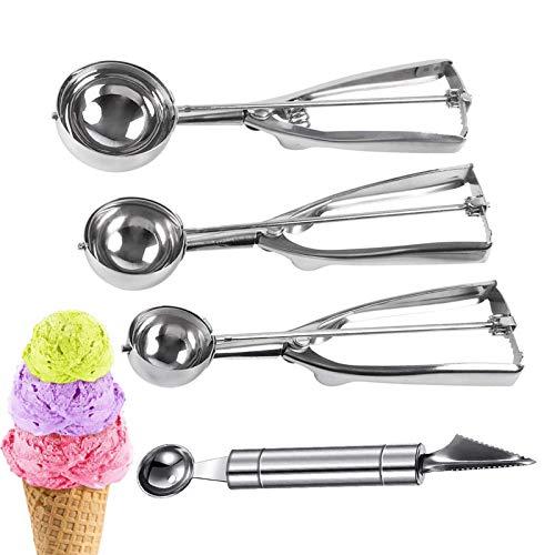 Ice Cream Scoop,Stainless Steel Ice Cream Scoop,Ice Cream Scoop Set with Trigger,Cookie Scoop Set,Melon Scoop (3)