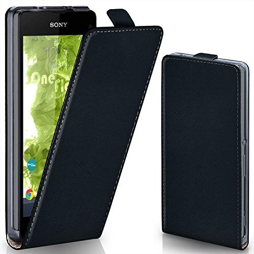 MoEx® Funda abatible + Cierre magnético Compatible con Sony Xperia Z1 Compact | Piel sintética, Noir