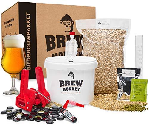 Brew Monkey® Compleet Tripel bierbrouwpakket | bierbrouwset startpakket om zelf bier te brouwen in je eigen keuken | met verse ingrediënten | herbruikbare vergistingsemmer | origineel cadeau!
