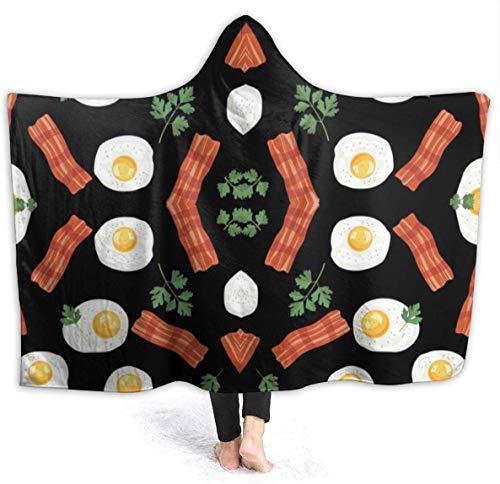 LanDu Eat Black Bacons and Eggs Herren Kapuzendecke Superweiche Flanelldecke Hoodie Wearable Hooded Robe Kapuzenmantel für Sofa Couch Büro Wohnzimmer 50'x40'