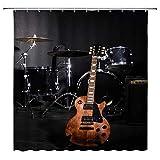 Kreatives Instrument Duschvorhang Trommel Gitarre Party Musik Liebhaber Vintage Schwarz Tan Badezimmer Gardinen Dekor Polyester Stoff Schnell Trocknend 183 x 183 cm Inklusive Haken