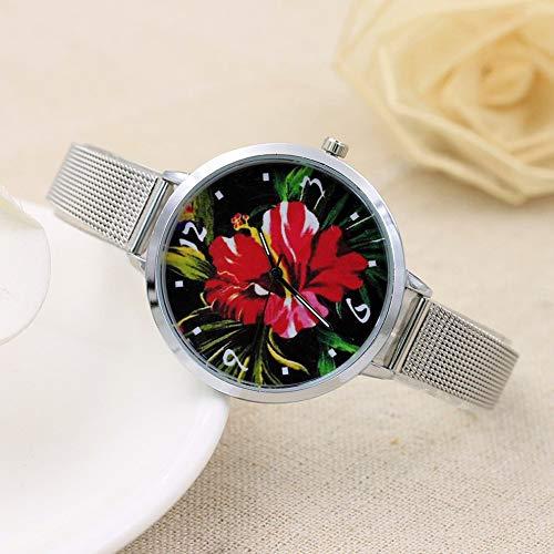 #N/V Reloj creativo de malla retro con cinta Gd100B de cuarzo, esfera redonda de lujo, relojes de cuarzo precisos, exquisita mano de obra, flor roja, L: 23 cm