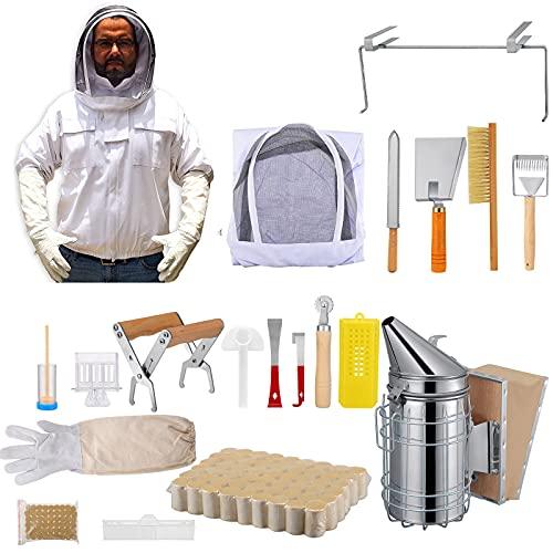 Bienenzucht Werkzeug, Vogvigo 18 Stk Bienenzucht-Kit,XL Imkeranzug Imkerjacke Smoker Imker Smoker Bienen Raucher Bienentechnik Smoker