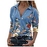 Your New Look Degradado de flores retro para mujer, estampado de flores, cuello en V, manga larga, jersey, blusa azul XXL