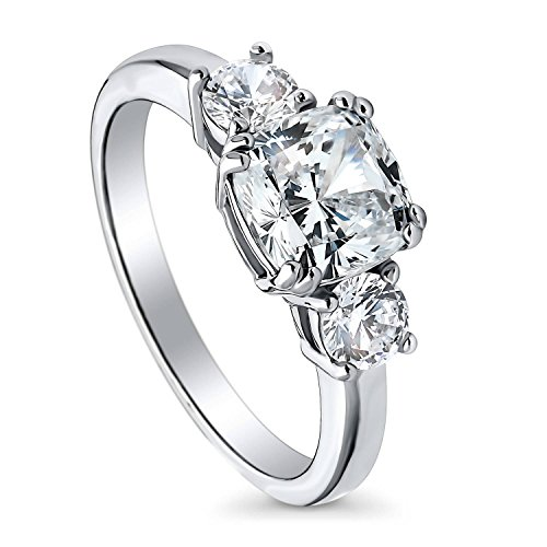 BERRICLE Rhodium Plated Sterling Silver Cushion Cut Cubic Zirconia CZ 3-Stone Anniversary Promise Wedding Engagement Ring 2.5 CTW Size 4.5