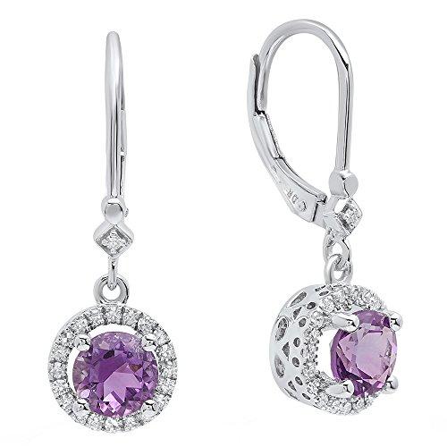Pendientes colgantes de oro blanco de 14 quilates de 6,5 mm cada uno con piedras preciosas redondas y diamantes para mujer