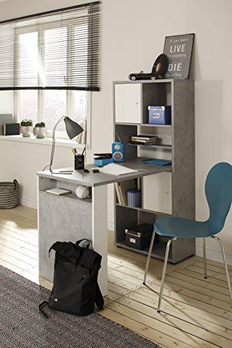 lisel-de Minioffice von Maja Möbel in Steingrau/Weiß matt 64x145x114cm wechselseitig montierbar Büro Komplettset Homeoffice