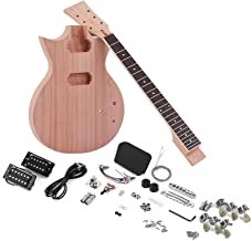 Muslady Unfinished Electric Guitar Kit DIY Mahogany Body & Guitar Neck Rosewood Fingerboard