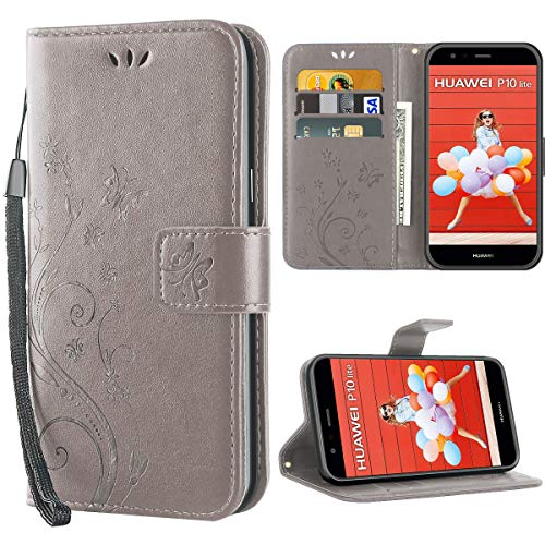 iDoer Huawei P10 Lite hülle,Solide Butterfly PU Ledercase Tasche Schutzhülle Huawei P10 Lite Hülle Klapphülle Magnetverschluss Handyhülle im Wallet - Grau
